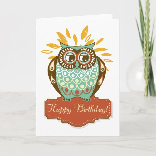 Colorful Autumn Owl Floral Happy Birthday Card