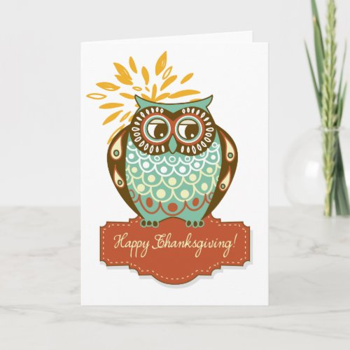 Colorful Autumn Owl Floral Happy Thanksgiving Card