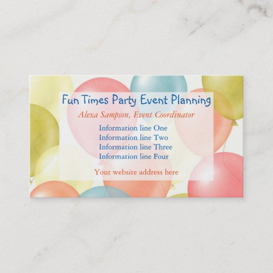 Colorful Balloons Event Planning Business Card