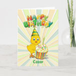 ❤️ Colorful Birthday Chick Kids Birthday Card