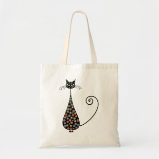 Colorful Black Cat Tote Bag