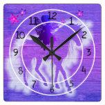 Colorful Blue & Pink Unicorn Decorative Square Wall Clock