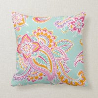 Colorful Bohemian Paisley Throw Pillow | Zazzle