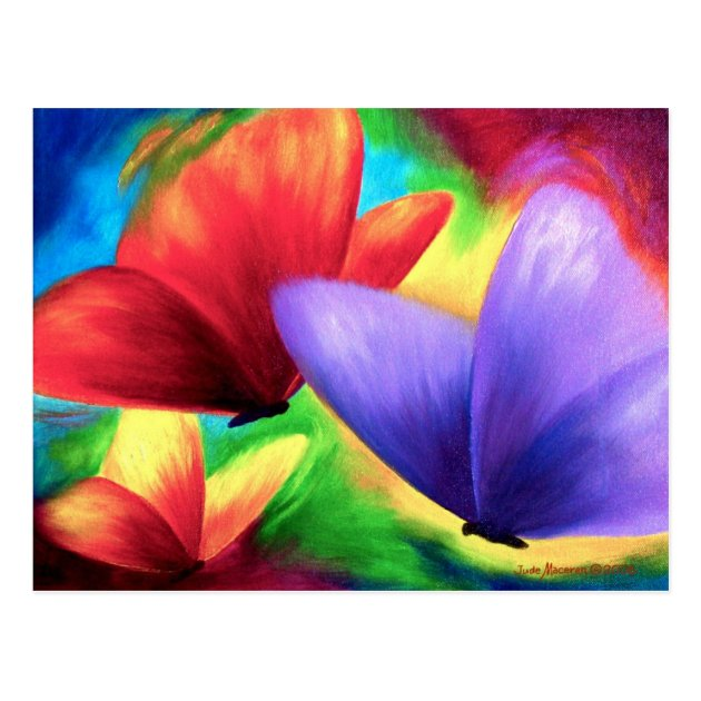 Colorful Butterfly Paintings On Print Postcards  Zazzlecom