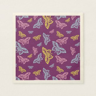 Colorful Butterfly Pattern Napkin