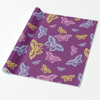 Colorful Butterfly Pattern Sheets Wrapping Paper