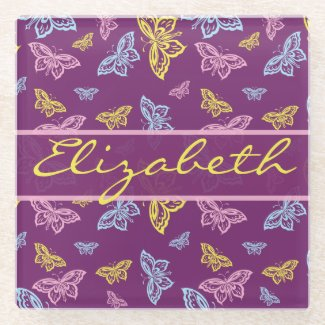 Colorful Butterfly Personalize Pattern Glass Coaster
