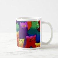 Colorful Cats Classic White Coffee Mug   Zazzle