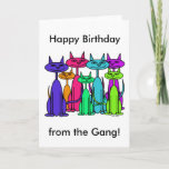Colorful Cats Happy Birthday Card