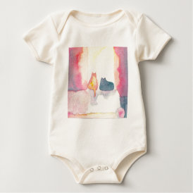 Colorful Cats on a Sunny Sofa Baby Bodysuit
