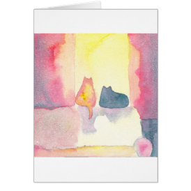 Colorful Cats on a Sunny Sofa Card