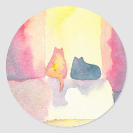 Colorful Cats on a Sunny Sofa Classic Round Sticker