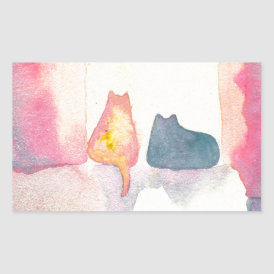 Colorful Cats on a Sunny Sofa Rectangular Sticker