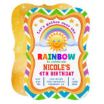 ❤️ Colorful Chevron Cute Rainbow Birthday Invitation