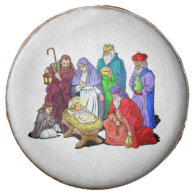 Colorful Christmas Nativity Scene Chocolate Dipped Oreo
