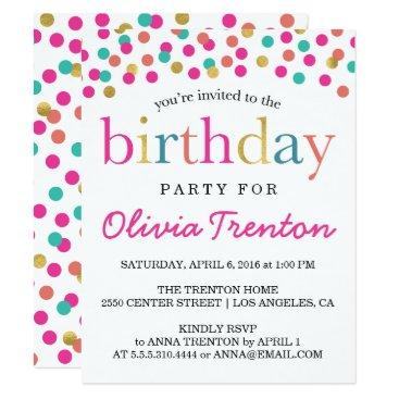 Colorful Confetti Kids Birthday Party Invitations