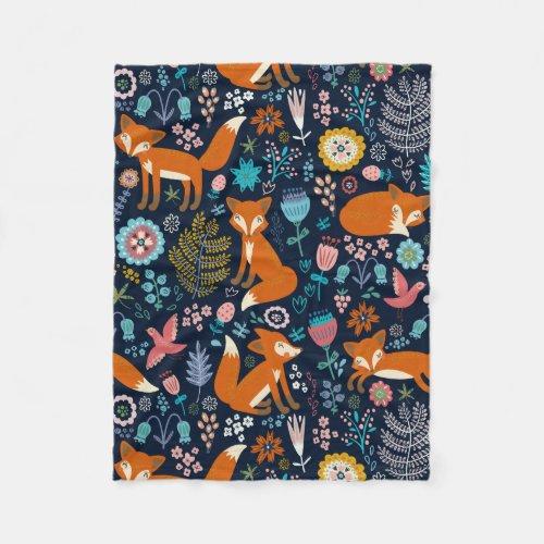 Colorful Cute Flowers & Foxes Pattern Fleece Blanket