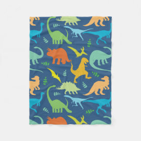 Colorful Dinosaur Pattern Fleece Blanket
