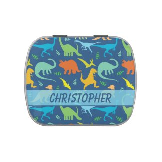 Colorful Dinosaur Pattern to Personalize Candy Tins