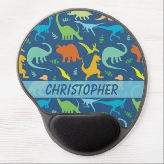 Colorful Dinosaur Pattern to Personalize Gel Mouse Mat
