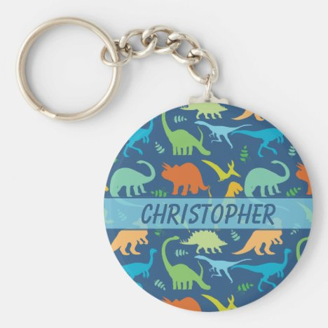 Colorful Dinosaur Pattern to Personalize Keychain