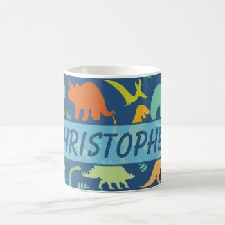 Colorful Dinosaur Pattern to Personalize Coffee Mug