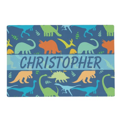 Colorful Dinosaur Pattern to Personalize Placemat