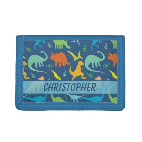 Colorful Dinosaur Pattern to Personalize Tri-fold Wallet