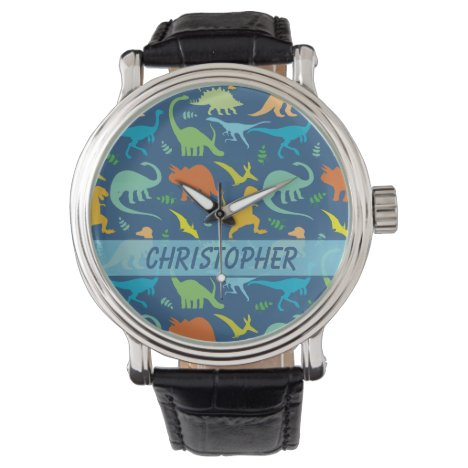 Colorful Dinosaur Pattern to Personalize Watch