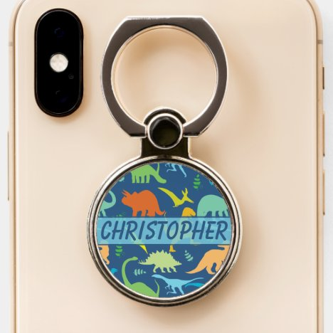 Colorful Dinosaurs Design to Personalize Phone Ring Stand
