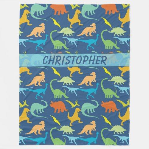 Colorful Dinosaurs Pattern Personalized Fleece Blanket