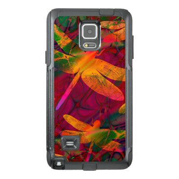 Colorful Dragonfly Gold Purple Pattern OtterBox Samsung Note 4 Case