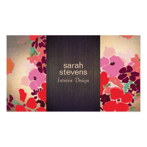 Colorful Floral Interior Designer Wood and Gold Business Card