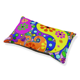 Colorful Flowers Retro Paisley Pattern Small Dog Bed