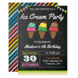 ❤️ Colorful Ice Cream Kids Birthday Party Invitation