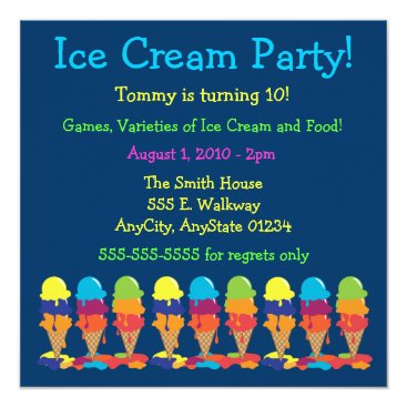Colorful Ice Cream Party Invitation