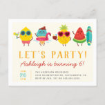 Colorful Kawaii Summer Kids' Birthday Party Invitation Postcard