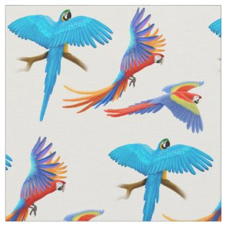 Colorful Macaw Parrots Fabric