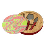 Colorful Mod Green Abstract pattern design Round Cheese Board