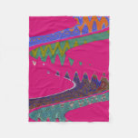 Colorful Mod pink abstract Fleece Blanket