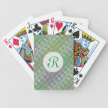Colorful Pastel Zigzag Pattern Monogram Bicycle Playing Cards