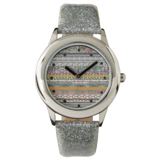 Colorful Pattern Art Silver Glitter Watch