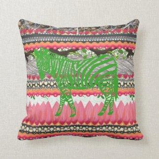 Colorful Pattern Green Zebra Art Pillow