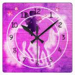 Colorful Pink & Purple Unicorn Decorative Square Wall Clock