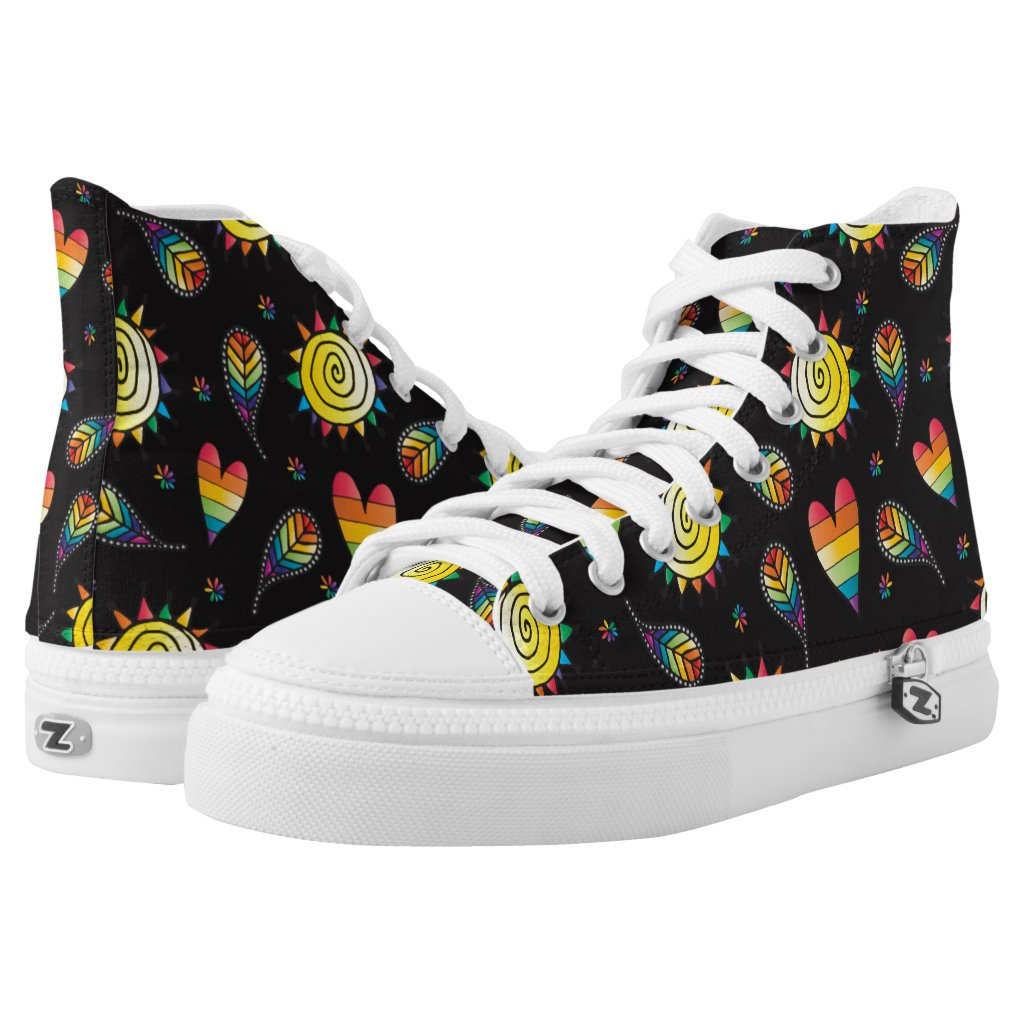 Colorful Rainbow Doodles High-Top Sneakers