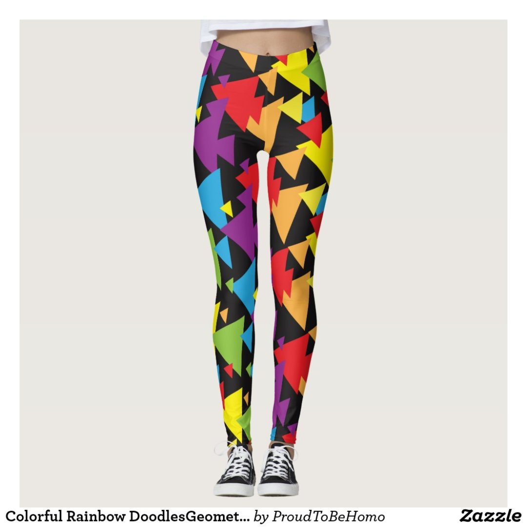 Colorful Rainbow DoodlesGeometric Pattern Leggings