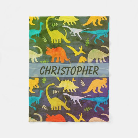 Colorful Rustic Dinosaurs Personalized Fleece Blanket