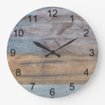 Colorful Rustic Wood Grain Large Clock
