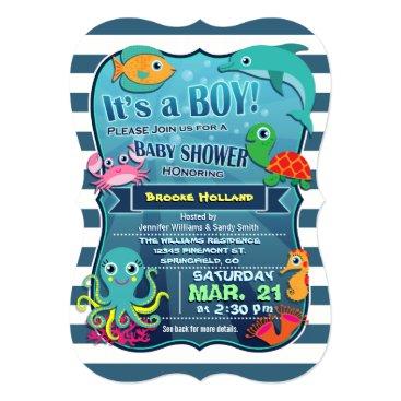 Colorful Sea Life Boy Baby Shower Invitation