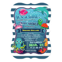 Colorful Sea Life Girl Baby Shower Invitation